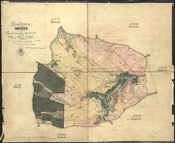 Mapa Motycza z 1860 roku